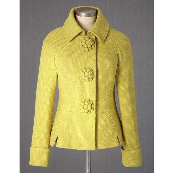 Boden Jackets & Blazers - NWOT Boden Yellow Wool Fifties Jacket WE401